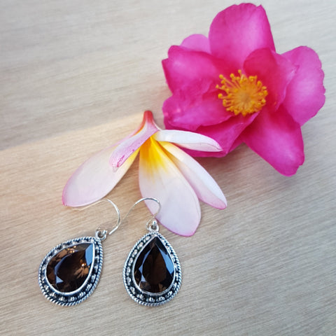 Smoky Quartz Artisan Teardrop Earrings
