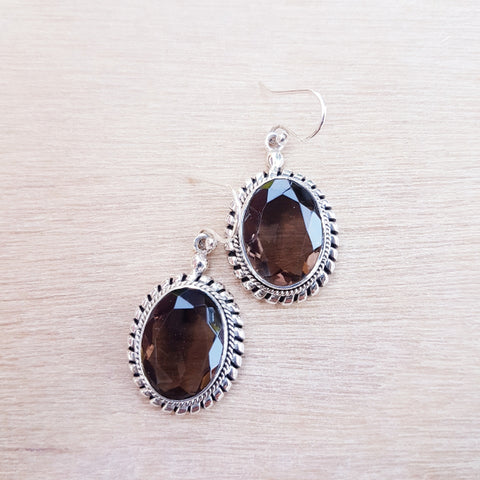 Smoky Quartz Twisted Silver Earrings