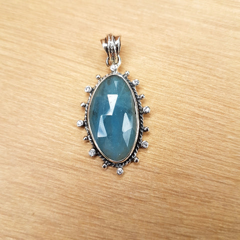 Aquamarine Rose Cut Pendant