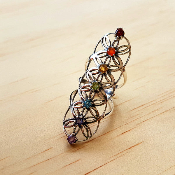 Flower of Life Chakra Ring - Inspired Tribe Silver Jewellery