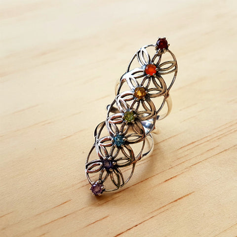Silver Flower of Life Chakra Ring