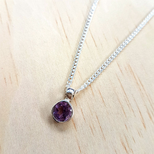 Teeny Tiny Sterling Silver and Amethyst Charm Pendant