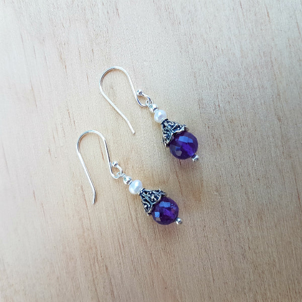 Amethyst Beaded Bibi Earrings