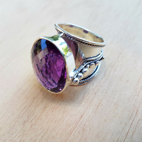 Amethyst Nafisa Checker Cut Ring