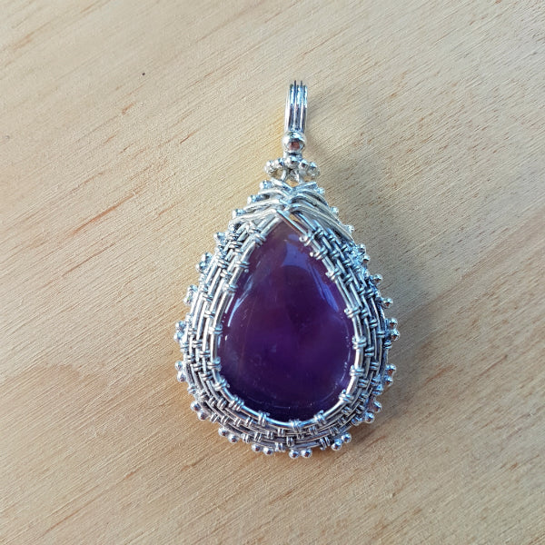Amethyst Cabochon Silver Wrapped Pendant