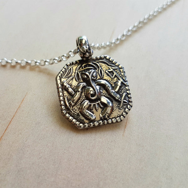 Silver Ganesh Amulet Pendant - Inspired Tribe Silver Jewellery