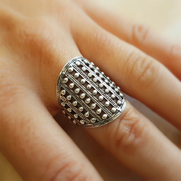 Ethnic Rawa Silver Ring - Inspired Tribe Silver Jewellery