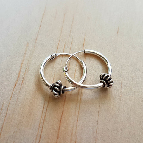 Silver Ethnic Hoop Earrings