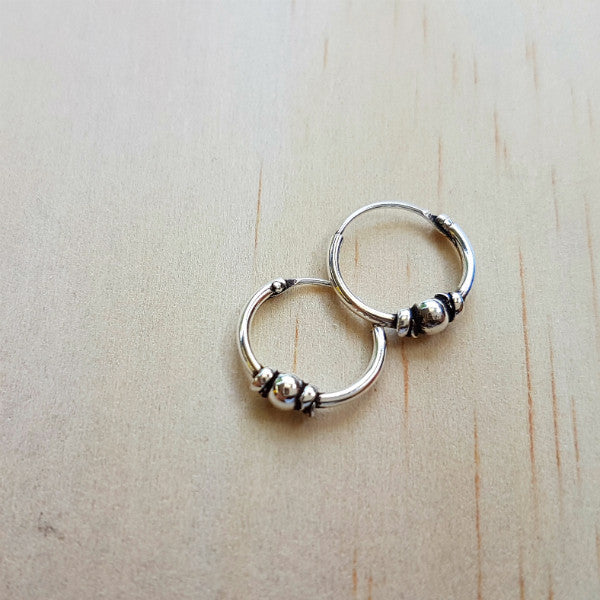 Ethnic Silver Hoop Earrings - Inspired Tribe Silver Jewellery