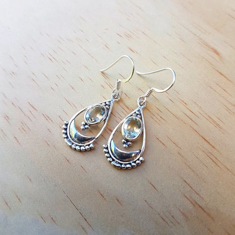 Fine Artisan Sterling Silver and Lemon Quartz Earrings