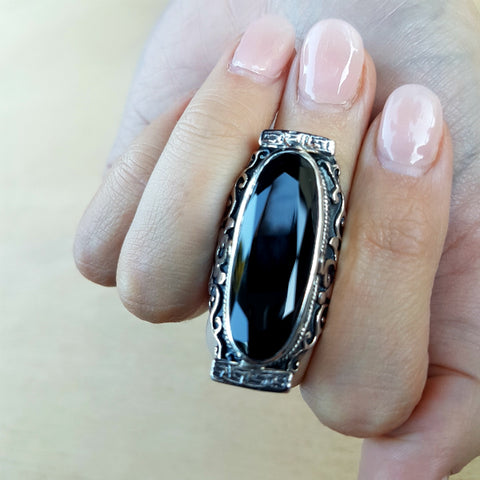 Black Onyx Tibetan Cloud Saddle Ring