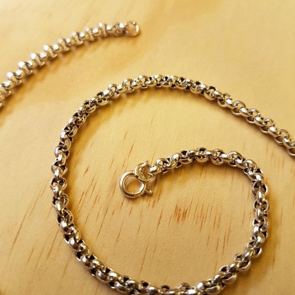 Sterling Silver Rolo ( Belcher ) Chain 3mm - Inspired Tribe Silver Jewellery