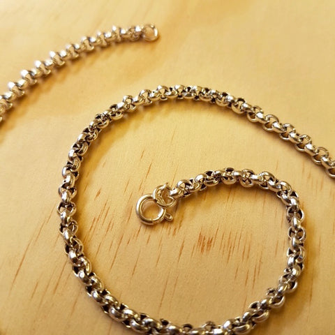 Sterling Silver Rolo ( Belcher ) Chain 3mm