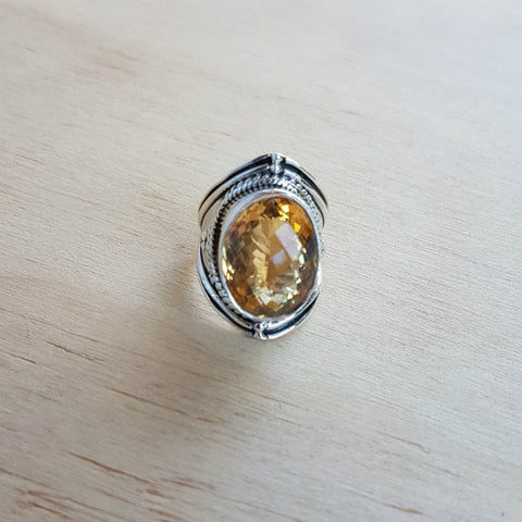 Citrine Oval Boho Ring