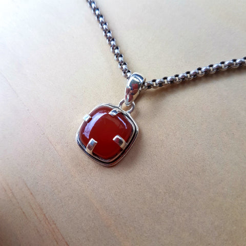 Modern Cushion Claw Carnelian Pendant - Inspired Tribe Silver Jewellery