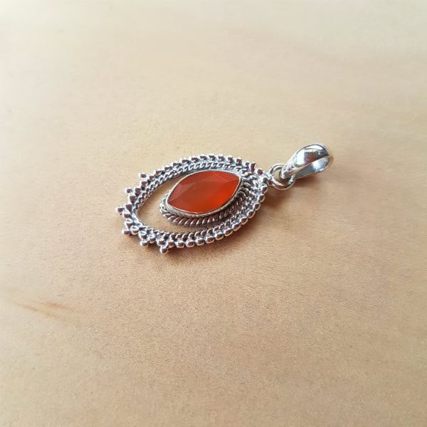 Marquise Indian Carnelian Artisan Pendant - Inspired Tribe Silver Jewellery