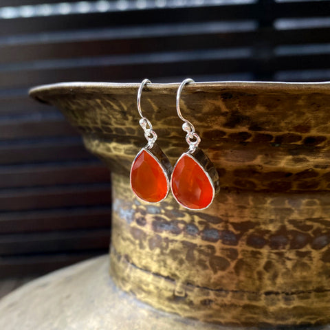 Carnelian Grace Teardrop Earrings
