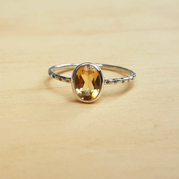 Citrine Hammer Band Ring