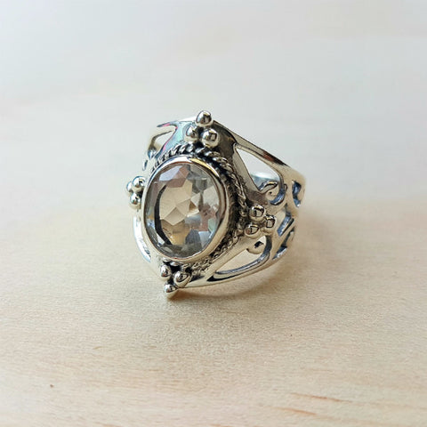 Jali Clear Quartz Ring in Sterling Silver