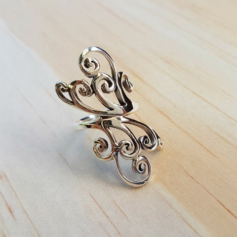 Silver Swirl Design Ring