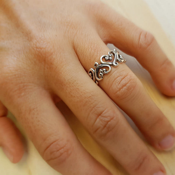 Intertwined Silver Heart Ring - Inspired Tribe Silver Jewellery