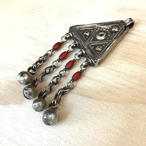 Vintage Silver and Coral Amulet - Inspired Tribe Silver Jewellery