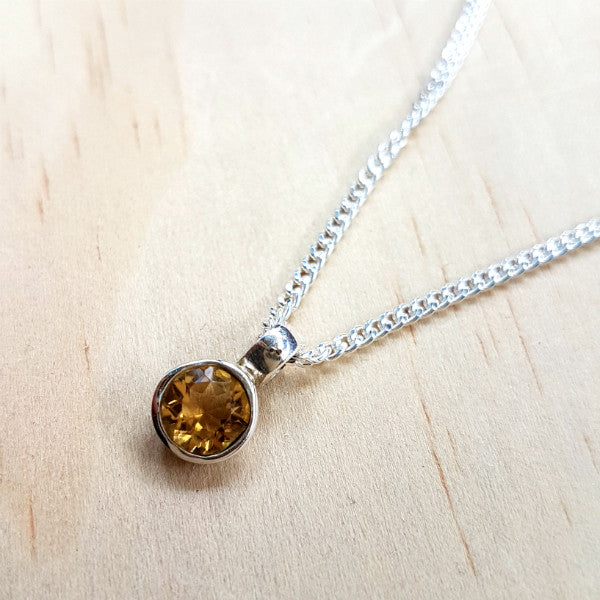 Teeny Tiny Sterling Silver and Citrine Charm Pendant