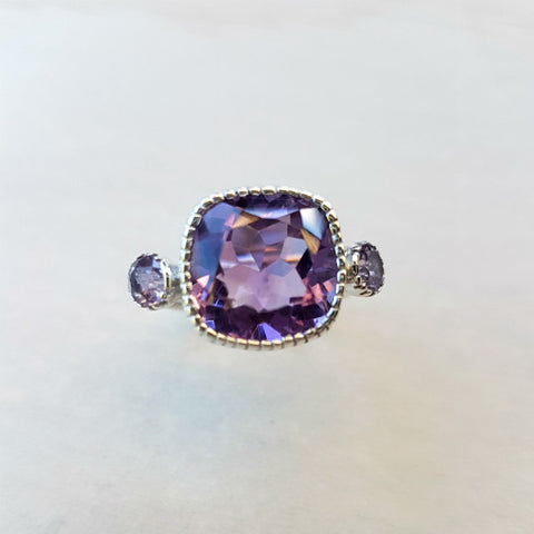 Cushion Cut Amethyst Ring in Sterling Silver - Inspired Tribe Silver Jewellery