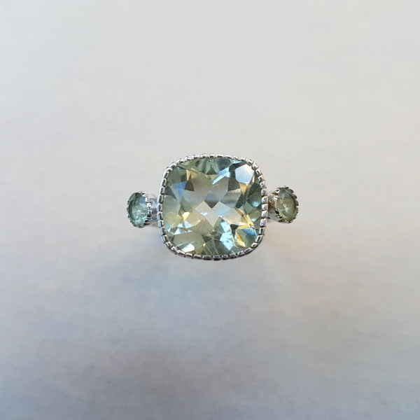 Cushion Cut Green Amethyst Ring Sterling Silver - Inspired Tribe Silver Jewellery