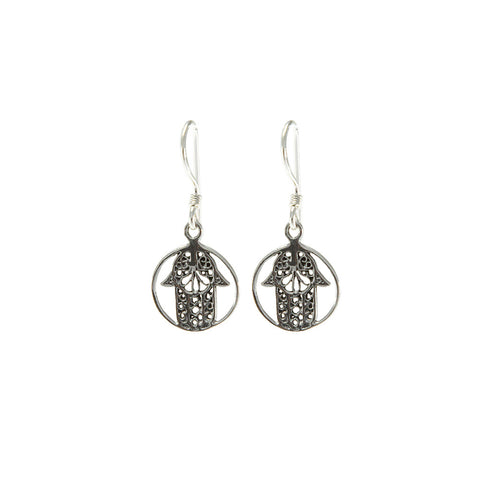 Sterling Silver Hamsa Circle Earrings