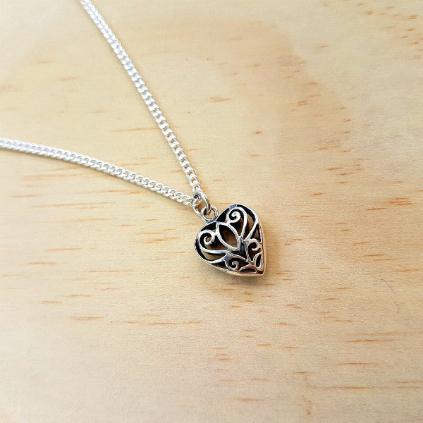Silver Fine Filigree Heart Pendant - Inspired Tribe Silver Jewellery