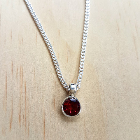 Teeny Tiny Sterling Silver and Garnet Charm Pendant