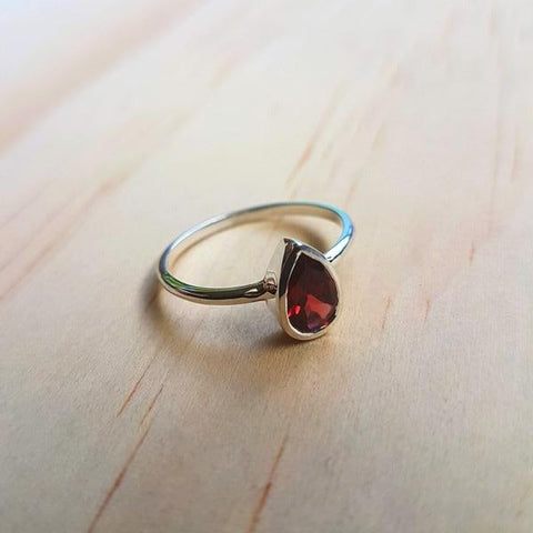 Garnet Small Teardrop Ring