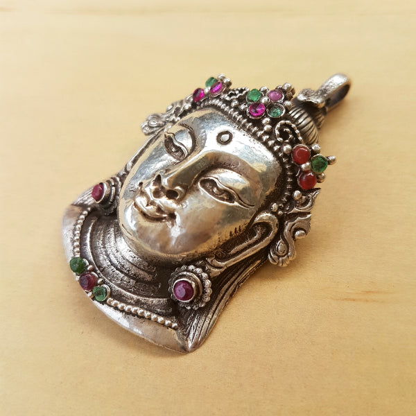 Silver Crown Buddha Pendant with Emeralds and Rubies - Inspired Tribe Silver Jewellery