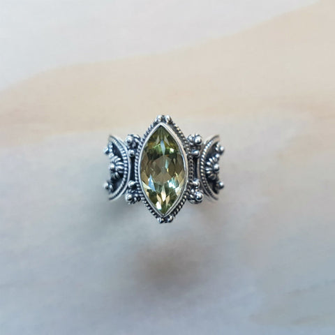 Marquise Cut Green Amethyst Ring with Silver Oxidised Band - Inspired Tribe Silver Jewellery
