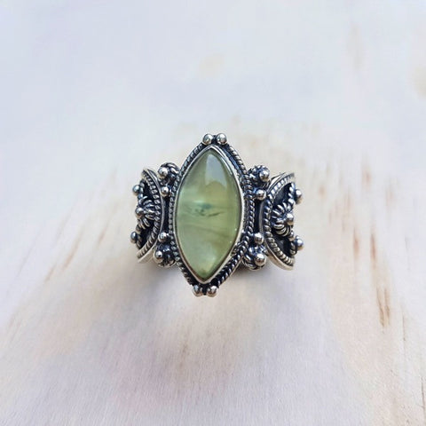 Marquise Cut Silver Oxidised Prehnite Ring with Silver Oxidised Band