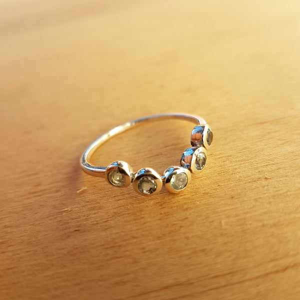 Rainbow Moonstone Arc Ring