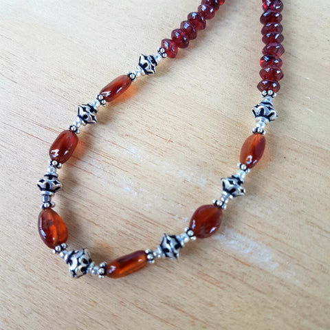 Garnet Artisan Bead Necklace