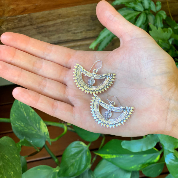 Silver Aztec Crescent Earrings