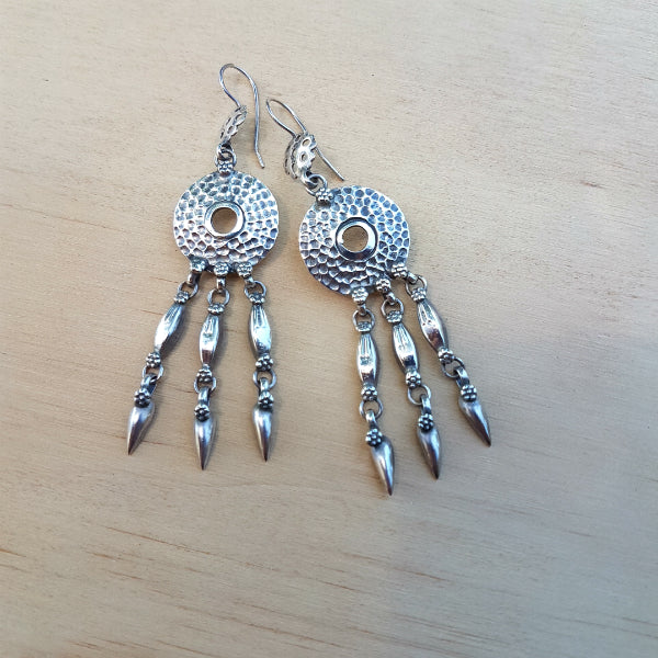 Silver Tribal Disc Earrings