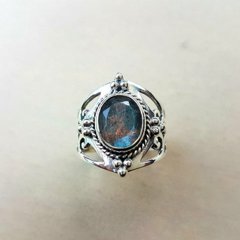 Jali Labradorite Ring in Sterling Silver - Inspired Tribe Silver Jewellery