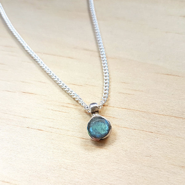 Teeny Tiny Sterling Silver and Labradorite Charm Pendant