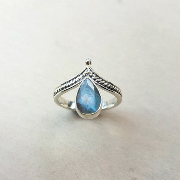 Labradorite Teardrop Wishbone Ring - Inspired Tribe Silver Jewellery