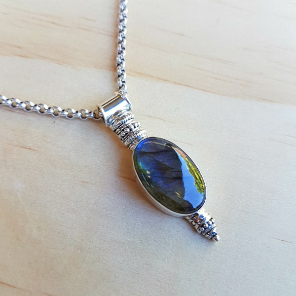 Unique Labradorite Drop Pendant - Inspired Tribe Silver Jewellery