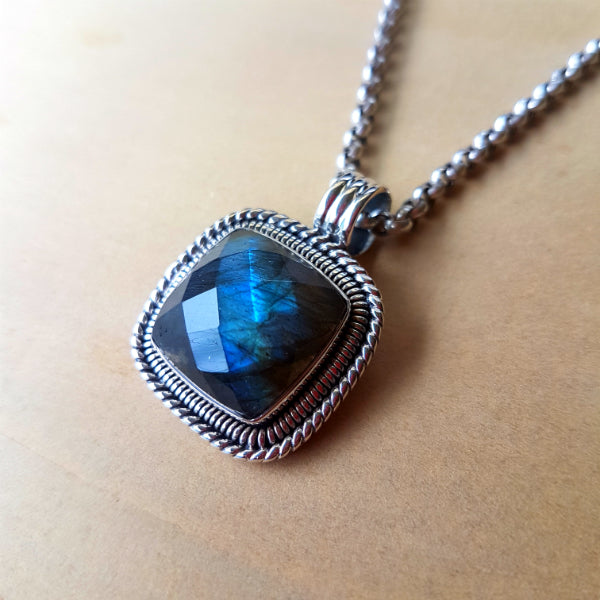 Cushion Cut Labradorite Artisan Pendant - Inspired Tribe Silver Jewellery