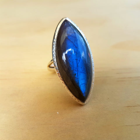 Marquise Labradorite Statement Ring - Inspired Tribe Silver Jewellery