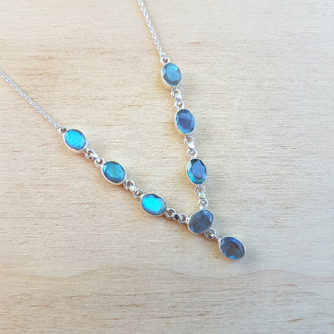 Labradorite Oval Multi Stone Necklace