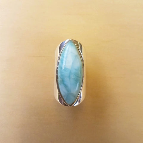 Larimar Contemporary Marquise Ring