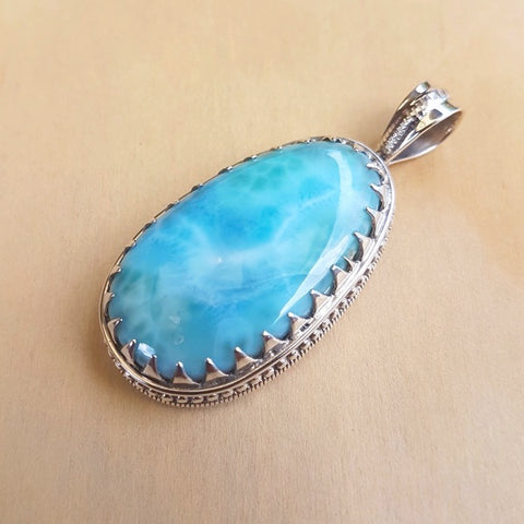 Larimar Tooth-Set Artisan Pendant - Inspired Tribe Silver Jewellery