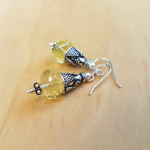 Lemon Quartz Artisan Beaded Earrings